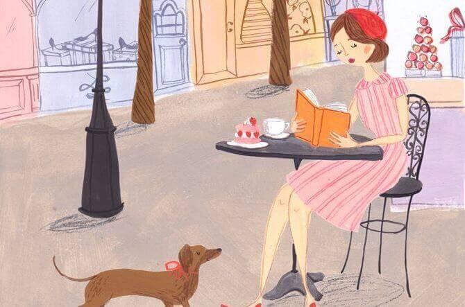 mulher-cafe-cão