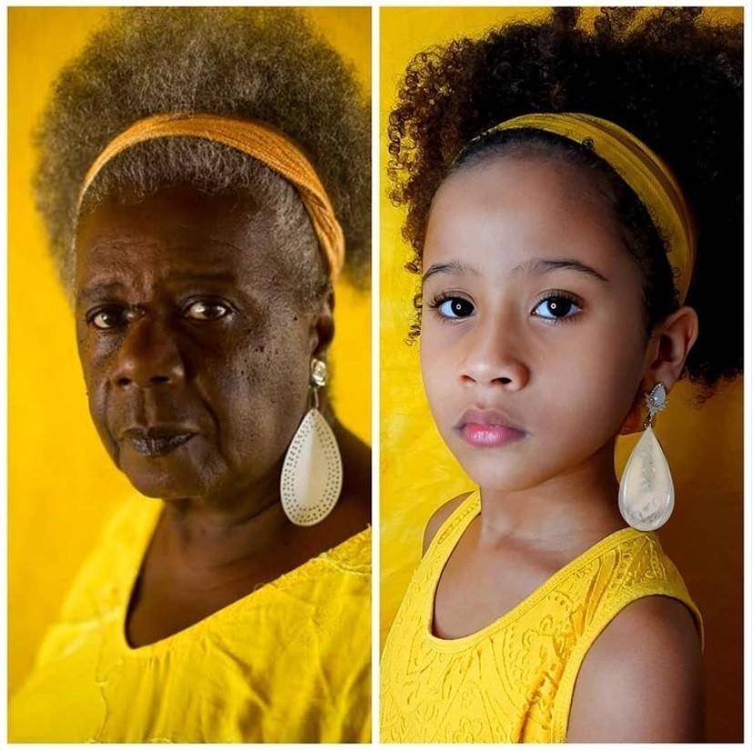 À esquerda, a escritora brasileira Maria da Conceição Evaristo de Brito e, à direita, a releitura feita por Clara Larchete, 8, e a mãe Daiane (Foto: Reprodução Instagram)